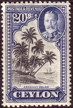 Ceylon 1935 King George V SG 374 Cocconut Palms Fine Mint SG 374 Scott 270 Other Commonwealth Stamps Here