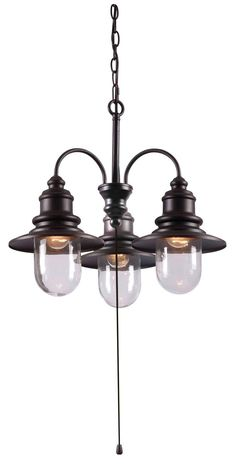 Kenroy Lighting 93033ORB Broadcast 3 Light 21 inch Oil Rubbed Bronze/Copper Outdoor Chandelier