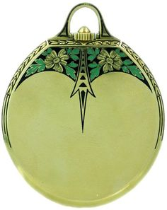 Art Deco gentleman's dress pocket watch by Doxa, Swiss made, ca.1930s. Green and black enamel, white dial, painted black Breguet numerals, 18k yellow gold, 41.8 mm x 53.2 mm including bow