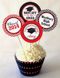 Graduation Cupcake Toppers, PRINTABLE, Personalized, Custom Colors, DIY Printable File