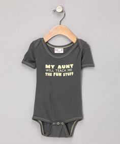 Take a look at this Gray 'My Aunt' Organic Bodysuit by Small Plum Bamboo on #zulily today!