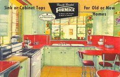 1940s Formica kitchen advertising postcard