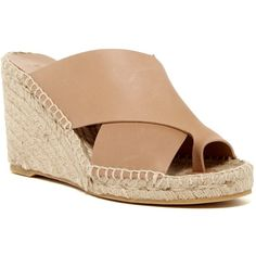 VINCE. Suraya Espadrille Wedge Sandal (10.400 RUB) ❤ liked on Polyvore featuring shoes, sandals, sand, leather toe loop sandals, toe ring sandals, criss cross strap sandals, wedge espadrilles and espadrille wedge sandals