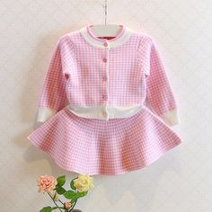 Pink Houndstooth Skirt and Jacket Set
