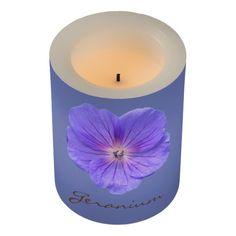 Botanical Blue Geranium Flower Led Candle