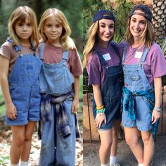 Denim overall dungarees company with us from childhood to now, very precious memory. Denim overall dungarees company with us from childhood to now, very precious memory. Halloween Costumes With Overalls, Best Friend Halloween Costumes, Twin Halloween, 90s Costume, Halloween Outfits, Zombie Costumes, Halloween Couples, Halloween 2018, Twin Costumes