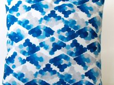 Throw Pillow Cover / Blue Watercolor / 18x18 by jackandbeedesigns, $16.50