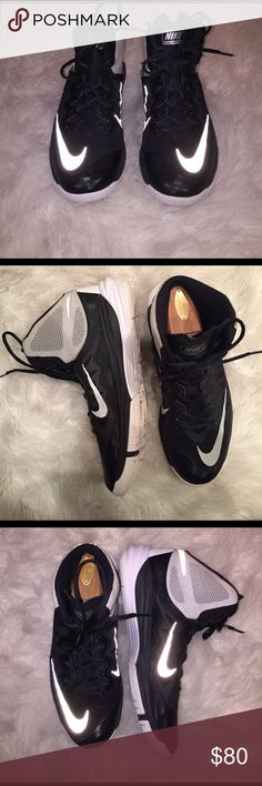 Nike Prime Hype DF II Shoes are in good shape have been worn. One small scrape on the left shoe picture is above. Do not have the box and the wooden shoe stays are not included. Nike Shoes Athletic Shoes