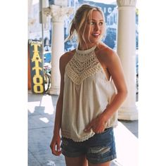 Leilani Top Cream Adorable tank with a crochet hem. Super cute for the summer months, especially as it gets warmer. 100% cotton Tops Tank Tops