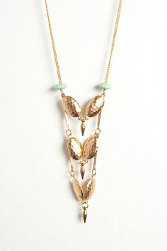 New  Hammered Shield Necklace with Mint Accents on by DeuceFashion, $41.00