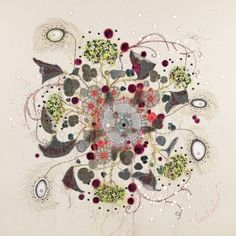 'Electric Blossom' - contemporary embroidery louise gardiner