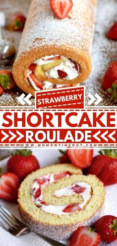 This Strawberry Shortcake Roulade is a light and airy angel food cake wrapped around a sweet whipped cream and fresh strawberry filling! This easy Easter dessert is irresistible! It has all the flavors of a strawberry shortcake rolled up into a light and fluffy cake. It's the best spring treat!