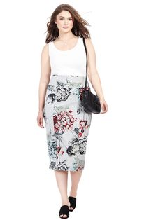 d71781c3998 Ponte Midi Pencil Skirt In Floral Print Hourglass Fashion