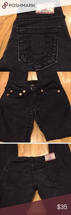 "True Religion Johnny Big T Jeans Faded black with a distressed look at the bottom of the legs gives these jeans a cool vibe   The length is 39"" the inseam is about 32"" the rise is 8"" laying flat straight across the top is 13"" leg opening is 6"" True Religion Jeans Straight Leg"