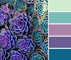 Art Succulents color palette (green, purple, turquoise) perfect-palette-colors