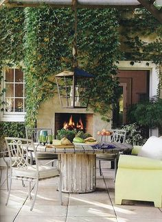 Backyard fireplace...