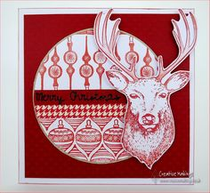 Creative Stamping, 27 Magazine  Nordic Style (stag) stamped christmas card
