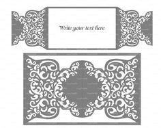 Wedding invitation Pattern Card Template Lace folds (studio V3, svg, dxf, ai…