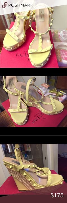 Authentic Valentino rockstar espadrilles Gorgeous pastel yellow rockstud sandals. Some damage (see pics). Still in great condition. One yellow stud is missing but Nordstrom gave me replacement studs. I was told that Valentino can replace the yellow stud but Hawaii only has one Valentino boutique and it's a pain in the butt to get to. Lol Valentino Shoes Heels