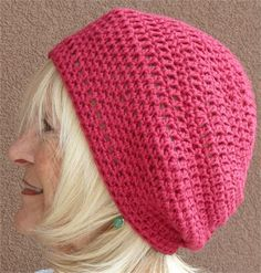 A summer accessory in rose. This is a great slouchy summer hat that will be perfect for a bad hair day or just wearing a cute hat for fun. It is made from 100% USA cotton. My hats are designed for comfort in mind and this will happily fit a 23 - 24 head and just beyond. Suggested gentle cold water wash and allow to air dry. My home is smoke free. Hat is named: Rosieanadanna