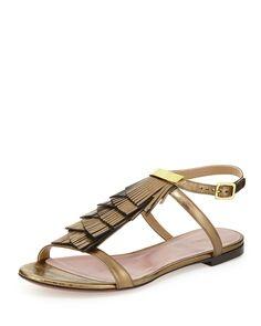 Fringe Ankle-Wrap Flat Sandal, Golden Bronze, Size: 35B/5B - Chloe