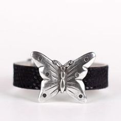 Raya | Wristicuffs Handmade European leather butterfly cuff.  Custom made to order in black, pink or blue.  #handmade #butterflies #bracelets #cuffs #wristicuffs Women's Bracelets, Pink Blue, Butterflies, Cuffs, Leather, Handmade, Accessories, Black, Fashion