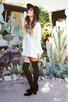 20 Style Tips On How To Wear Thigh-High Socks Tip from me. dont wear thigh highs with booty shorts or a crop top.