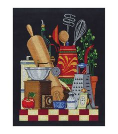 """Kitchen Still Life Counted Cross Stitch Kit-11""""X14"""" 14 Count"""