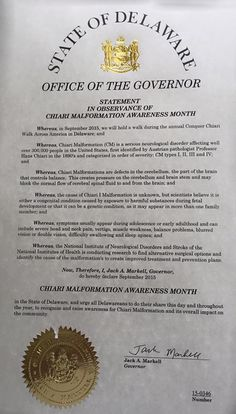 "DELAWARE - ""Proclamation for September'15 as Chiari Malformation Awareness Month"" Special thanks to Governor Jack A. Markell."