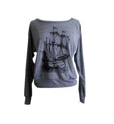 Pirata barco Raglan suéter - American Apparel suave al tacto vintage - disponible en tallas S, M, L