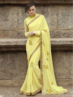 Yellow Latest Indian Designer Saree Blouse For Women Party Wear @Looksgud.in #Yellow, #PartyWear, #Saree                                                                                                                                                     More