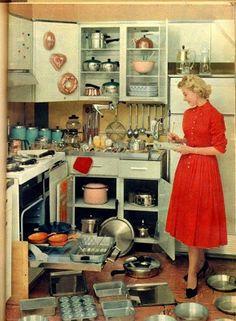Amas de casa retro. Típicas escenas de los años 50-60