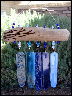 Beadworx - Driftwood and Glass Mini Wind Chime - Indigo Vision