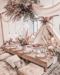 Party table decorations – Summer table decorations – Table decorations – Indoor picnic – Boho p – Party Decorations 2020 Summer Table Decorations, Wedding Decorations, Boho Wedding, Wedding Table, Wedding Dinner, Wedding Reception, Wedding Ideas, Indoor Picnic, Backyard Camping