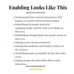 {Enabling is disabling.}   Enabling is a dysfunctional way that we attempt to help others.   Empower others to do things. Toxic Relationships, Healthy Relationships, Relationship Advice, Marriage Tips, Dysfunctional Relationships, Coaching, Mental And Emotional Health, Making Excuses, The Victim
