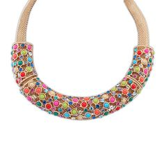 Davina Bejeweled Necklace £12.00  With so many colours, the possibilities are endless with this necklace. The thick snake-chain style necklace is charming in itself, but has a bold splash of colour with the multicoloured gemstones that are just begging to make your outfit pop. A simple design that works incredibly well with formal outfits, as well as more casual outfits.