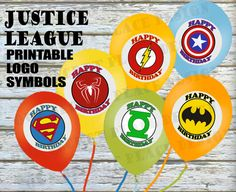 PRINTABLE Justice League Superhero Happy Birthday Logos by OurSecretPlace on Etsy, $6.49