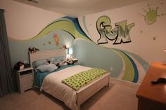 kids bedroom makeover Maybe a surf themed room Kids Bedroom Paint, Cool Kids Bedrooms, Teen Girl Bedrooms, Kids Rooms, Surfer Bedroom, Batman Bedroom, Apple Painting, Tumblr Bedroom, Target Home Decor