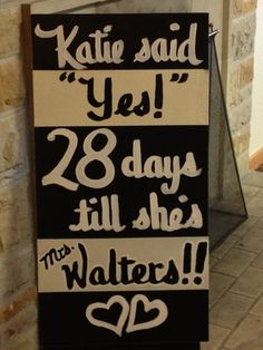 Any Color Bridal Shower Sign Days until shes a Mrs Printable