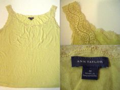 """ANN TAYLOR Size: M light lime green knit cami w/ lace trim & spaghetti straps $9 - Find it by going to www.LoyalRoyaltyPro.com, click on the """"Miss Anthropy's Boutique"""" link on the left sidebar and click on one of the hyperlinks that say """"Miss Anthropy's Boutique"""" to be taken to all of my eBay auctions including the one below! Don't forget to check out the other content on www.LoyalRoyaltyPro.com as well!"""