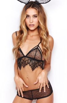 3922ab7c12d76 The SKIVVIES by For Love   Lemons Vanity Strappy Bralette in Black features  point de esprit cups with long line detail. The scallop lace trim is  featured ...