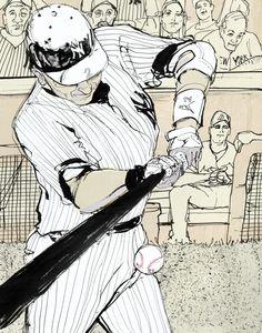 Brett Affrunti, Drawing of NY Yankees' Derek Jeter in anticipation of his 3,000th career hit
