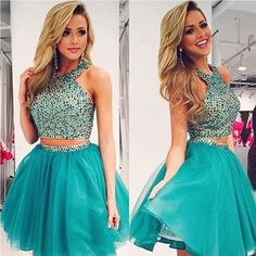 Emerald Green Two Piece Short Prom dress 2016 Special Occasion HomecomingGr aduation Gowns Beaded Rhinestones vestidos de baile
