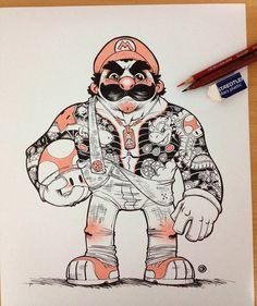 Yakuza Mario Illustration - Created byEduardo Vieira