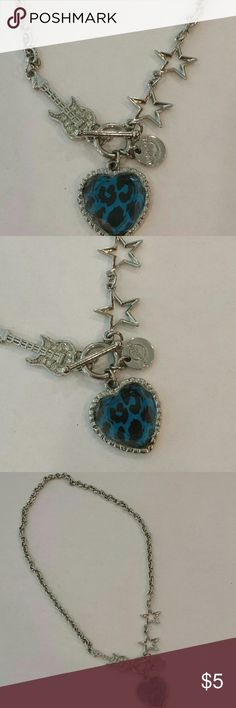 "Hard Rock Rock n Roll Necklace COOL ""Rocker Chic"" Necklace has a Blue Animal Print Heart Medallion, Rhinestone Guitar & Stars. Hard Rock charm. Front Toggle Clasp. Silvertone. NWOT Hard Rock Jewelry Necklaces"