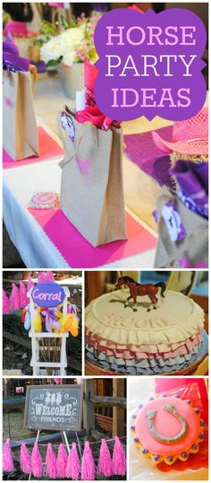 Check out this rustic horse themed party!  All done in pink and purple! See more party planning ideas at CatchMyParty.com!