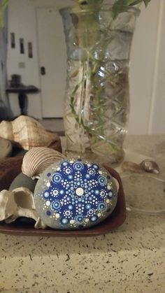 Painted Beach Stone Mandala Blue Starfish by CraftedbyCynthia