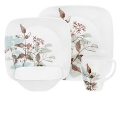 #Corelle Twilight Grove 16pc Square #Dinner #Set