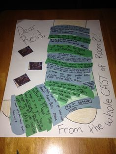 Get Well Card for a student with broken leg. Each classmate wrote a message on a strip of the cast.