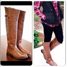 "⭐️$2.95 SHIPPING!⭐️NIB Over the Knee Riding Boots NIB Cognac Over the Knee Riding boots. Thigh high boot made of synthetic leather, with a rounded toe front and side zipper closure. They have a stacked heel, top buckle strap. These also have a soft padded insole for comfort. RUNS TRUE TO SIZE.  Heel 1"", Shaft (w/heel) approx 20"", Calf Circumference approx 15"". Trades and No PaypalPrice firm, no bundle discount. Sold out of 7-11 Shoes Over the Knee Boots"